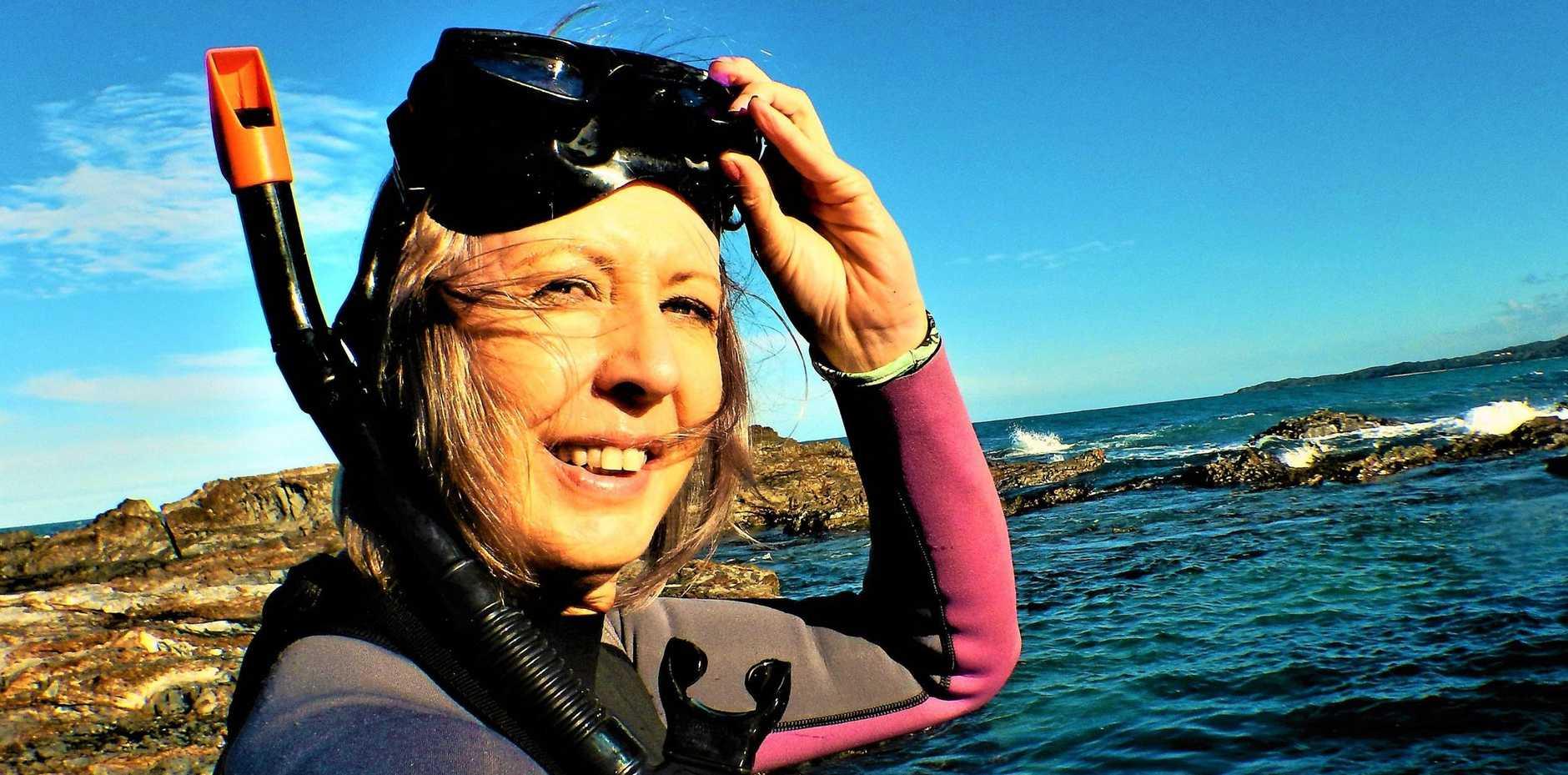EXPLORING: Liz Hardaker on a snorkelling trip at Minnie Water.