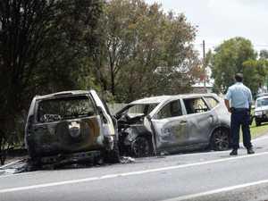 HEAD ON: Footage shows cars ablaze