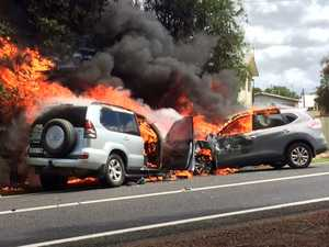 HEAD ON: Footage shows cars ablaze