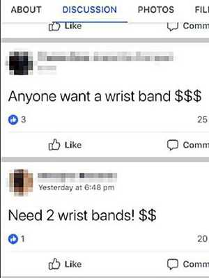 Schoolies wristbands are being sold on Facebook.
