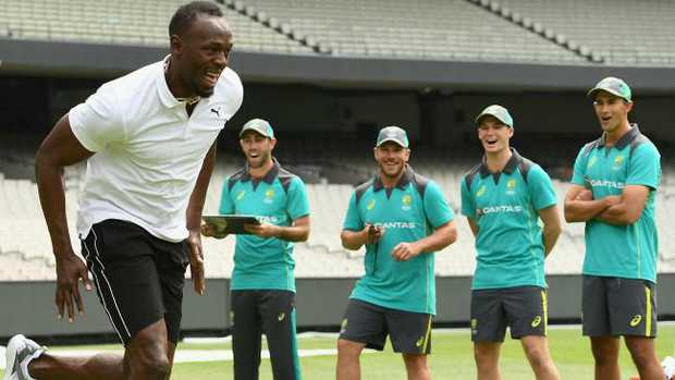 Usain Bolt shows the Aussies how it's done. Picture: Supplied