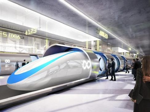 An artist's impressions of the planned Hyperloop transit system