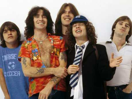 L-R: Malcolm Young, Bon Scott, Cliff Williams, Angus Young and Phil Rudd from AC/DC.  Picture:  Supplied