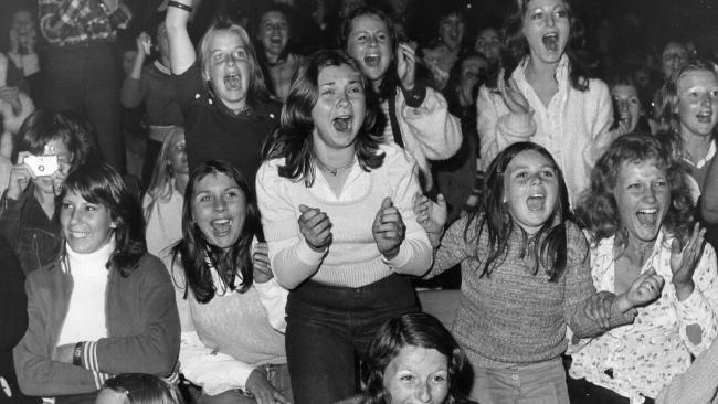Teenage girls, fans screaming at the David Cassidy pop concert at Memorial Drive, Adelaide, 12 Mar 1974. Picture: News Corp.