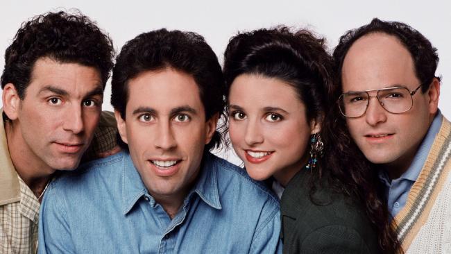 Actors (L-R) Michael Richards, Jerry Seinfeld, Julia Louis-Dreyfus and Jason Alexander, principal cast of the TV show 'Seinfeld'.
