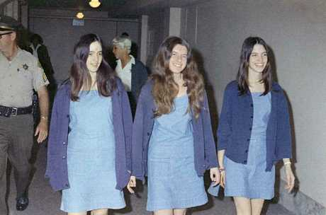 Charles Manson followers, from left: Susan Atkins, Patricia Krenwinkel and Leslie Van Houten, walk to court to appear for their roles in the 1969 cult killings of seven people, including pregnant actress Sharon Tate