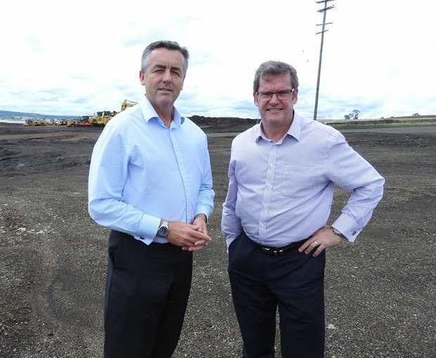 Federal Infrastructure Minister Darren Chester with Groom MP John McVeigh.