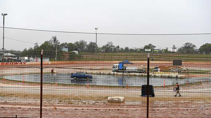 WASHED OUT: The Bundy Burnout pad is empty and wet at Carina Speedway after heavy rainfall in the region on Saturday.