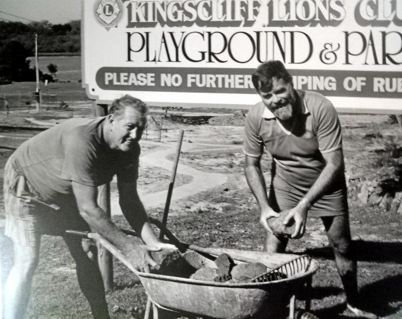 Kingscliff Lions members helping to build the playground at Cudgen School in 1991.
