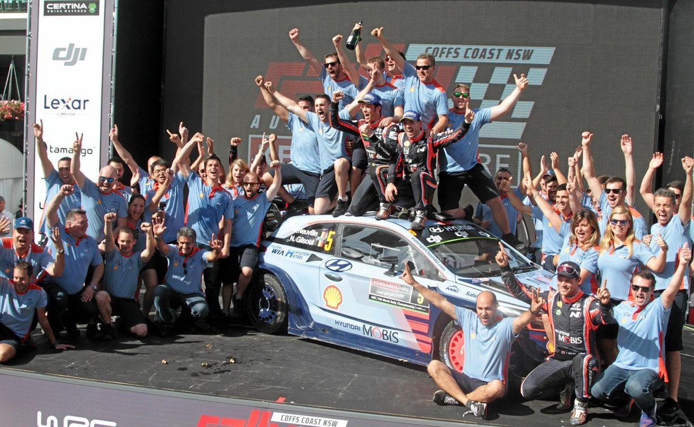 Thierry Neuville's Hyundai team claim victory at Rally Australia.