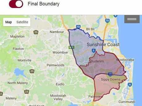 BOUNDARY: The Buderim electorate boundaries.