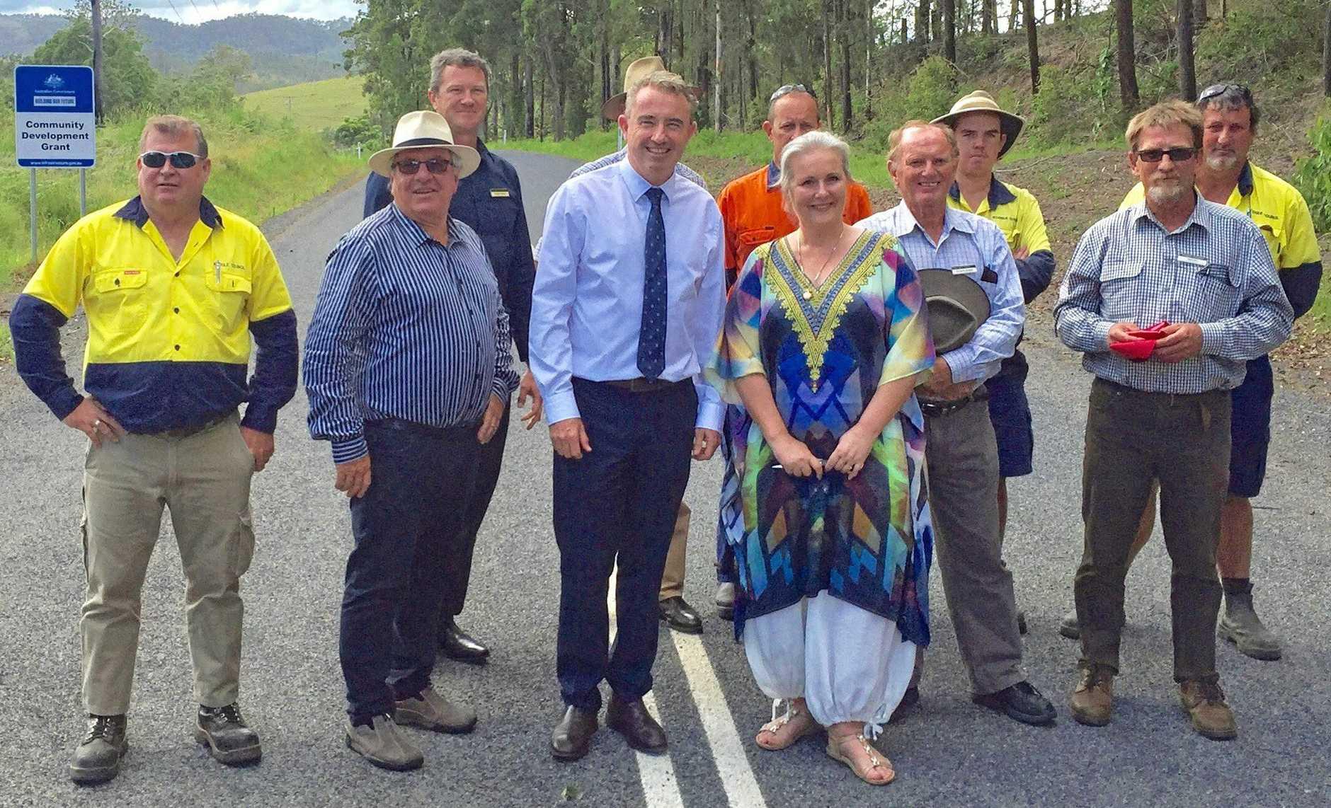 MP Kevin Hogan and Kyogle mayor Danielle Mulholland at the Toonumbar Dam.