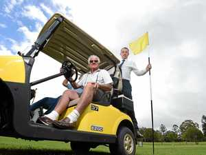 Kyogle Golf Club greens chairman Kelly O'Reilly and president Colin Griffiths with MP Kevin Hogan which will see a $12,000 grant for concrete paths for buggies.