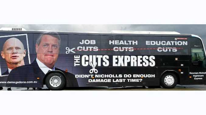 CUTS AWARENESS: 'The Cuts Express' bus blitz that will travel up the Queensland Coast over the final week of the election campaign.