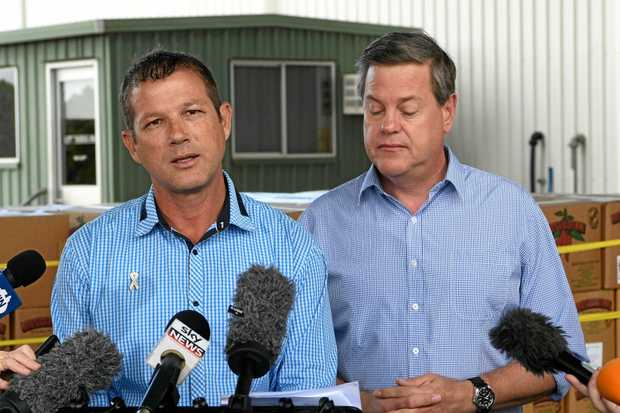 LOCAL VISIT: LNP Candidate David Batt and Opposition Leader Tim Nicholls at Austchilli in Bundaberg.