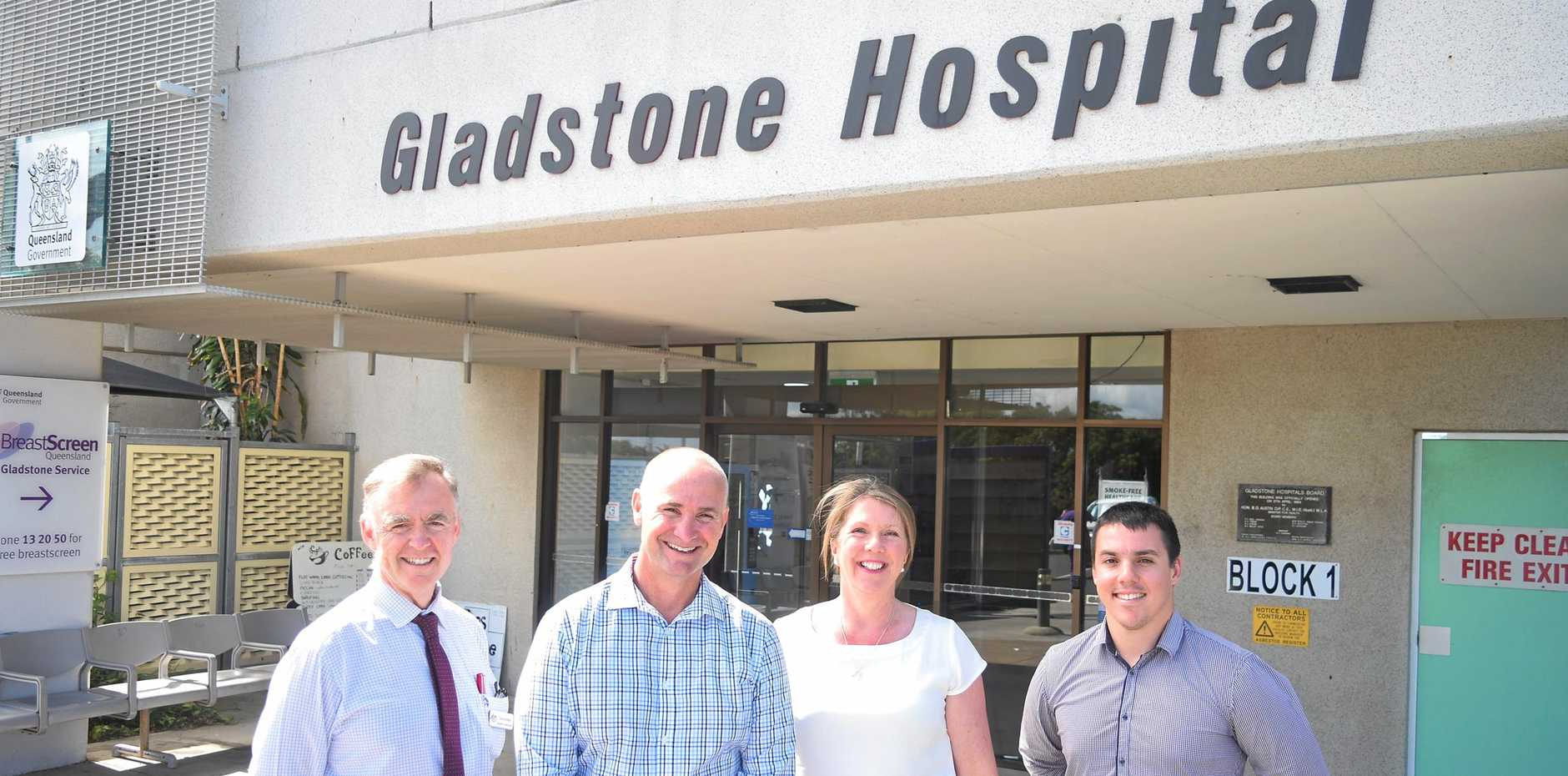 Queensland Senator Chris Ketter, Member for Gladstone Glenn Butcher, Federal Shadow Minister for Health and Medicare Catherine King and former Labor candidate for Flynn Zac Beers at Gladstone Hospital.