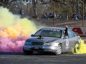 FULL OF COLOUR: Kenny Fox brightens up the pad during a Bundy Burnouts meet at Carina Speedway.