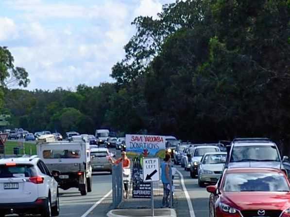 TRAFFIC JAM: About 3.30pm, protesters of the proposed $900 million Yaroomba Beach project used 200 cars to cause gridlock on David Low Way from Mt. Coolum to Yaroomba Beach.
