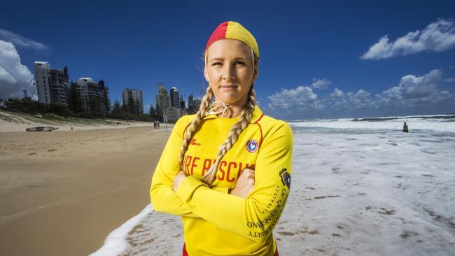 Surf lifesaver Britt Brymer prepares for the busy summer surf season on the Gold Coast. Picture: Nigel Hallett