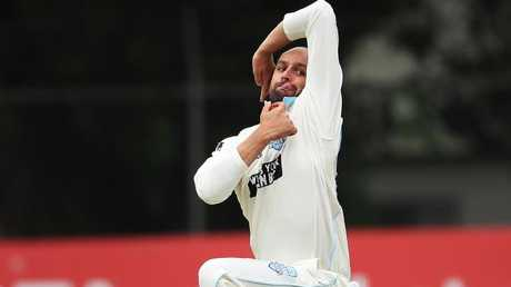 Nathan Lyon in action for NSW in the Sheffield Shield. Picture: Phil Hillyard