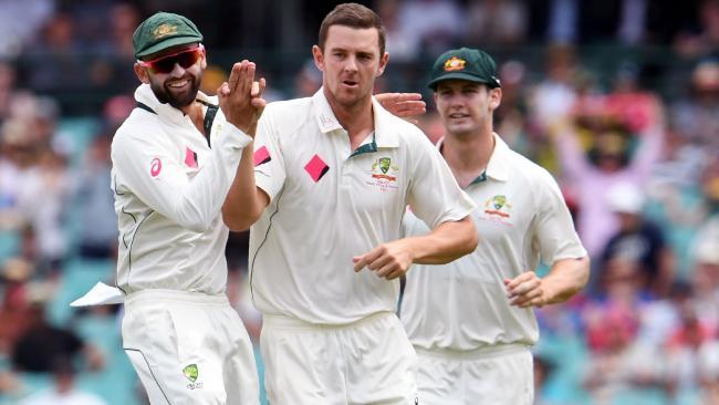 Nathan Lyon celebrates a wicket with Josh Hazlewood.
