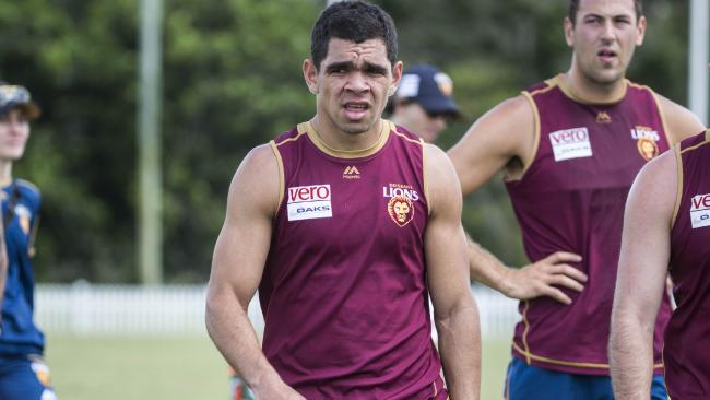Charlie Cameron hit the track with the Brisbane Lions on Monday. Picture: AAP Images