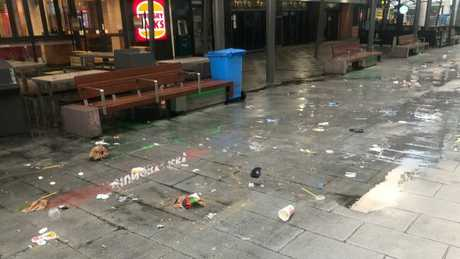 The mess left behind in Surfers Paradise after the second night of Schoolies celebrations. Picture: Lea Emery