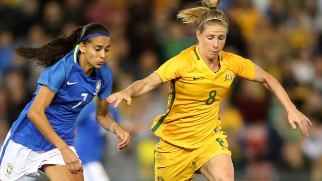 Elise Kellond-Knight in action against Brazil in Newcastle.