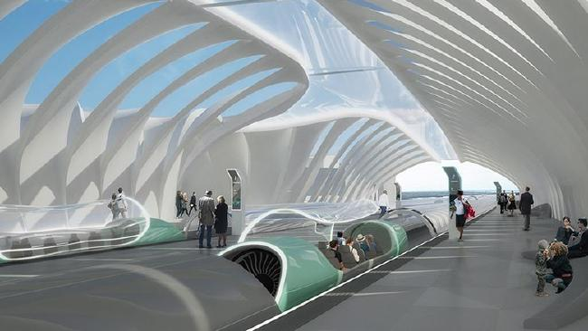 An artists impression of a Hyperloop station.