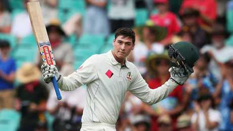Matt Renshaw salutes the crowd after scoring 184 against Pakistan. Picture: Phil Hillyard