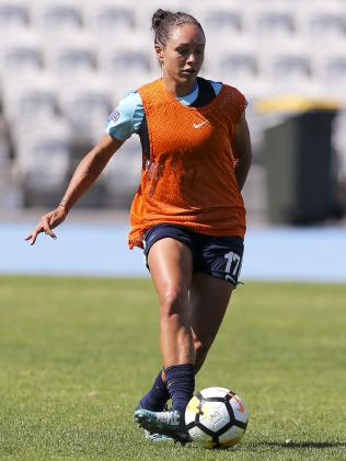 Kyah Simon at Matildas training in Melbourne.