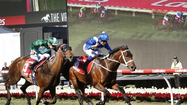 Winx had to dig in to win her third weight-for-age championship. Picture: David Caird