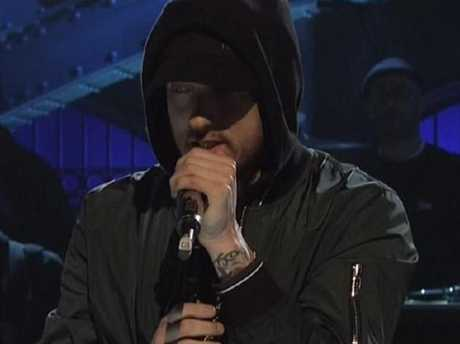 Eminem not bringing the laughs on SNL. Picture: NBC