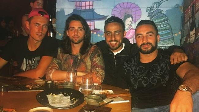 (from left) Gold Coast tennis star Bernard Tomic, Gabriel Liron, Ada Onur and Ahmed Dib out for dinner on the Gold Coast over the weekend. Photo: Instagram/Ahmed Dib