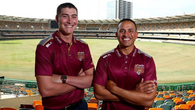Queensland teammates Matt Renshaw and captain Usman Khawaja.