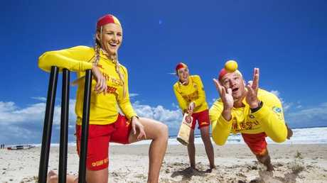 Surf Life Saving Queensland is launching a campaign to stop the Barmy army getting into trouble at the beach. Britt Brymer, Rebekah Austin and Nathan Fife are pictured. Picture: Nigel Hallett