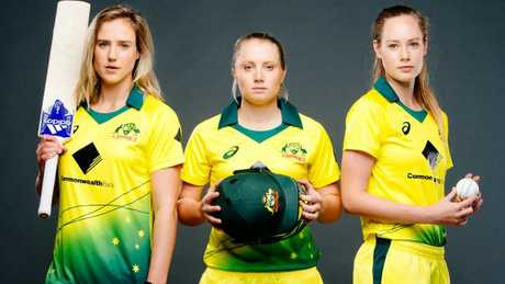Australia's Ellyse Perry, Alyssa Healy and Lauren Cheatle yesterday. Picture: Jonathan Ng