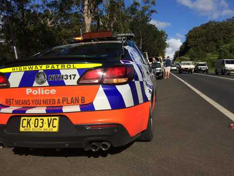 Traffic was backed up after a crash on the Bruxner Highway and Cowlong Road intersection.