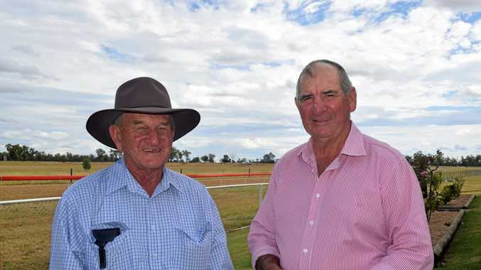 Eastern Downs Country Racing Association president Graham Rewald (left) catches up with Wally Gleeson at Chinchilla races earlier this year.