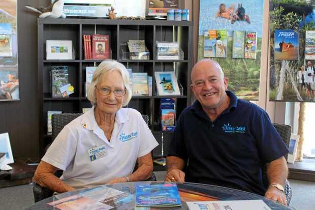 AWARD WINNERS: Hervey Bay Information Centre volunteer Carole Foskett and visitor services co-ordinator Andrew Ellis.