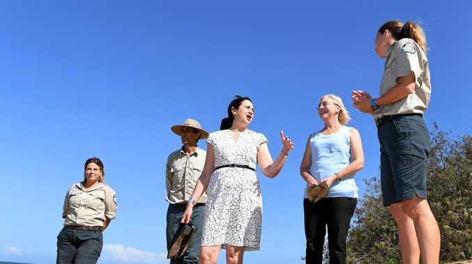 MON REPOS: Queensland premier Annastacia Palaszczuk at Mon Repos. Rangers Jess McKenzie, Shane O'Connor and Cathy Gatley.