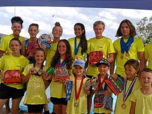 Mackay Cyclones swimmers were all smiles at the end of the day in Moranbah.