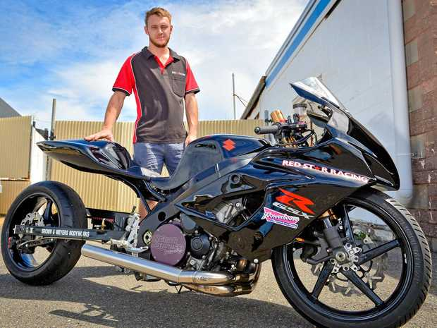 FAVOURITE: Mitch Ward with his modified bike he will be putting through the paces on Saturday afternoon and night.