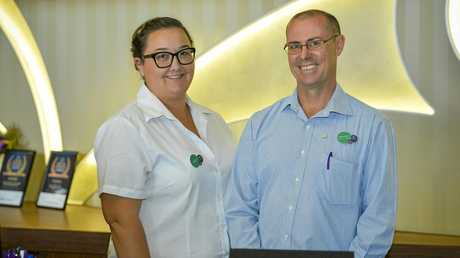 Mercure Hotel General Manager, Craig Conley, with staff member, Meghan Darby, won a Gladstone Best in Business Award, 2017.