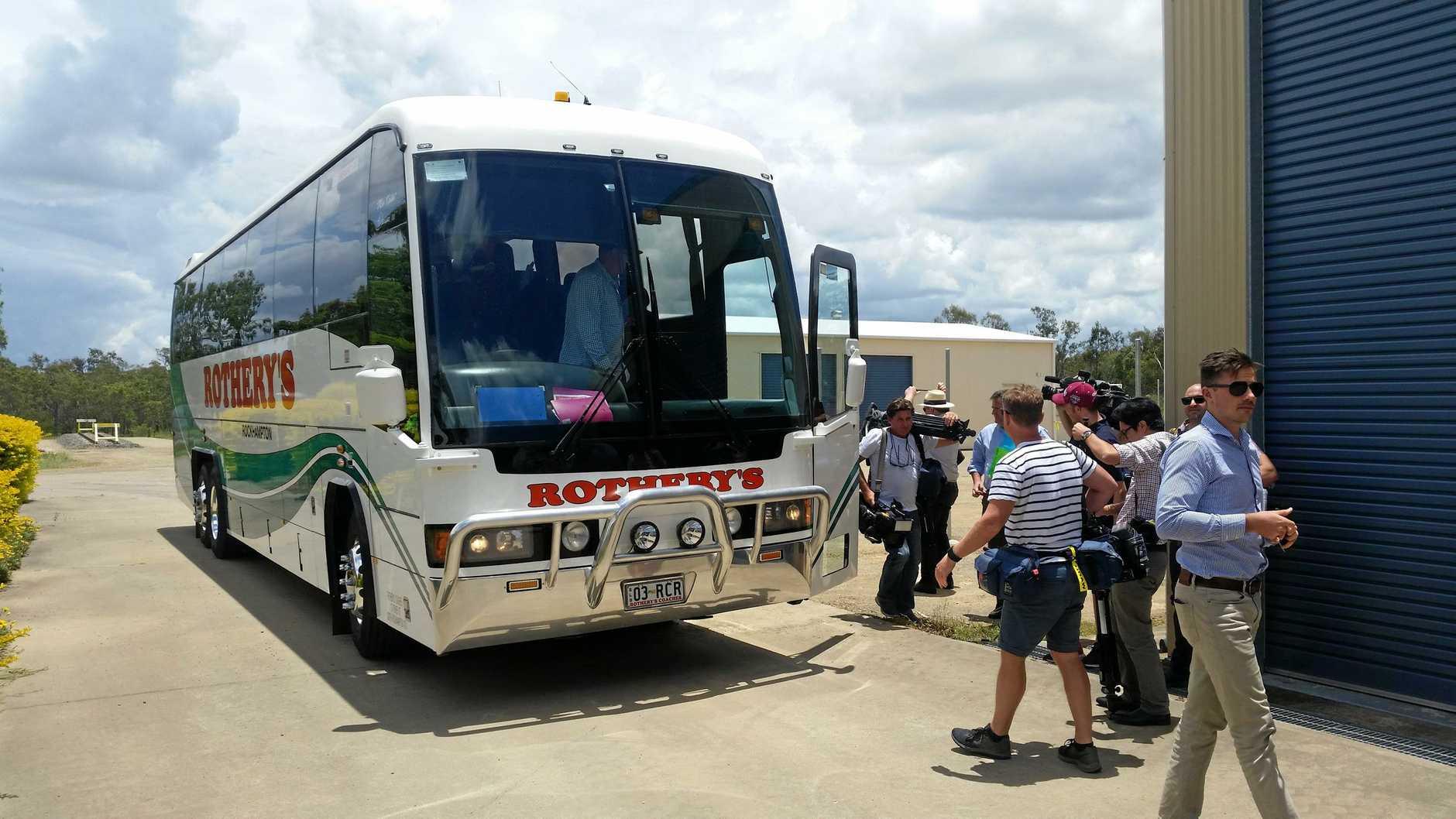 PREMIER VISIT: Queensland Premier Annastacia Palaszczuk's tour bus disgorges the media pack.