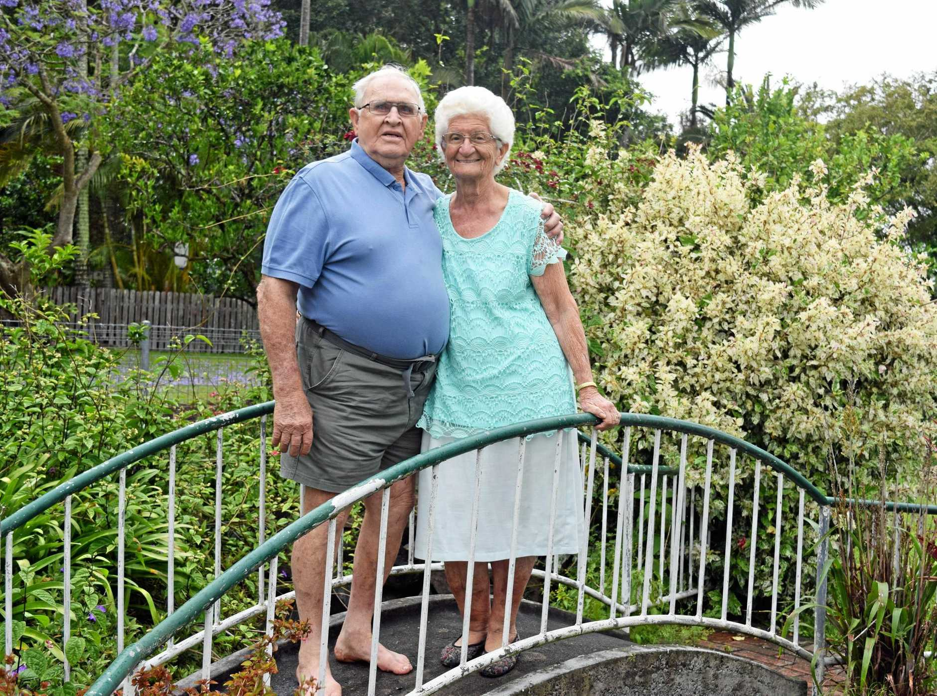 CONGRATULATIONS: Richard and Margaret Powell at home in Coraki celebrating their 60th wedding anniversary. INSET: On their wedding day.
