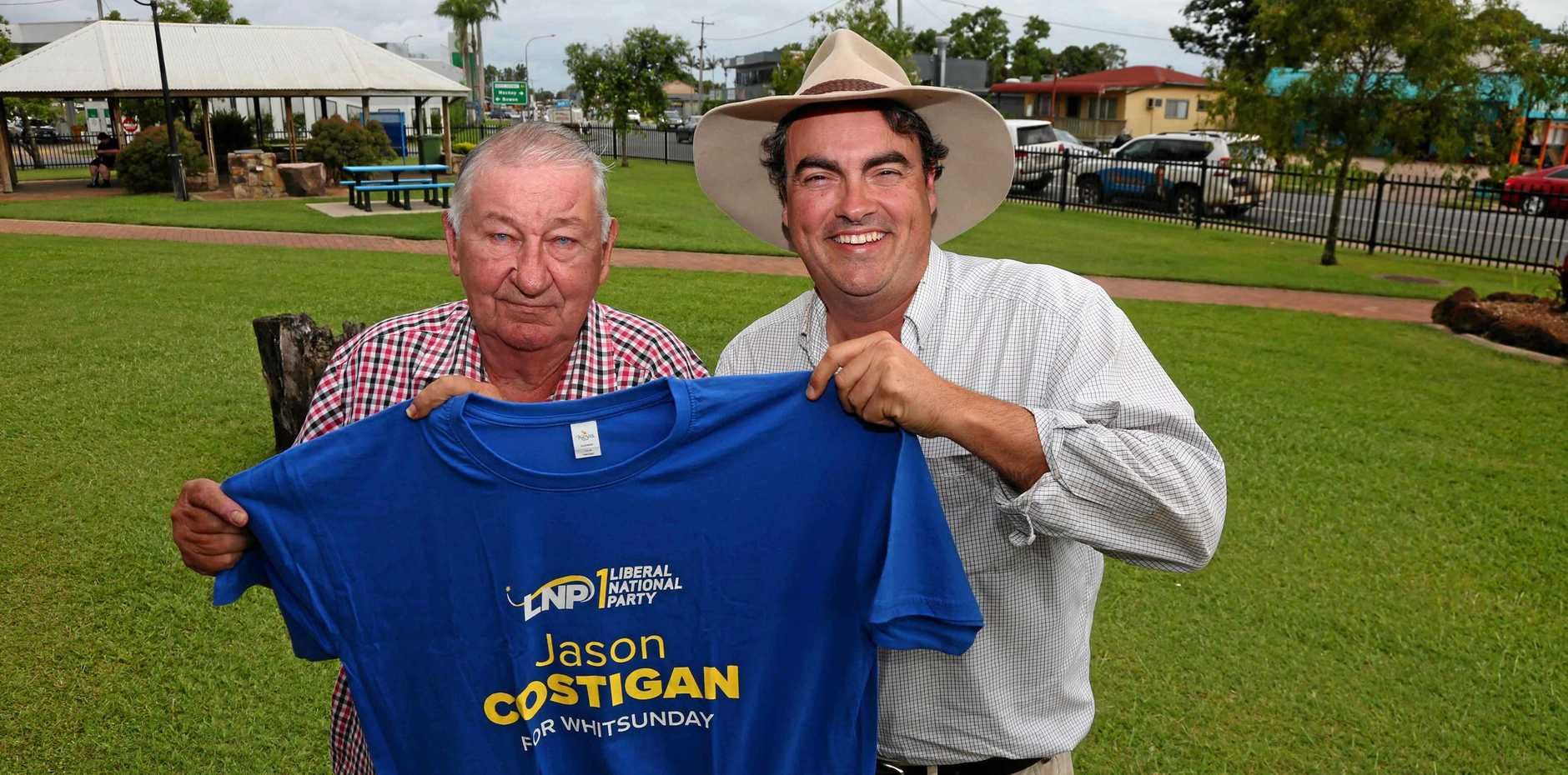Former One Nation member for Whitsunday Harry Black and the LNP's Jason Costigan in Proserpine today.