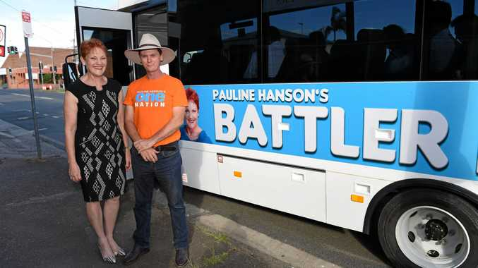 Senator Pauline Hanson with candidate James Hansen on arrival in Maryborough in the Battler Bus on November 6. Ms Hanson will visit Hervey Bay on Wednesday.