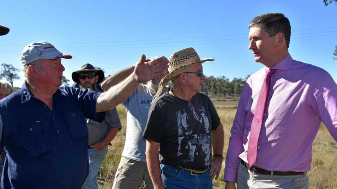 LISTENING: Lawrence Springborg speaks to residents of Sandy Creek Rd about their notorious turn-off onto the Cunningham Highway.