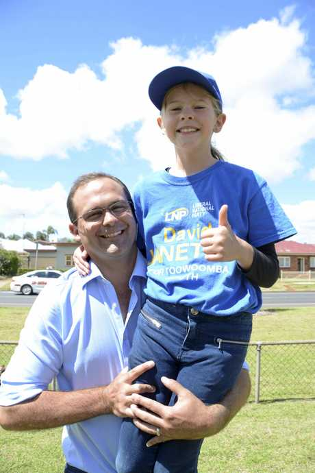 NO 1 DAD: Toowoomba South MP David Janetzki is keen for the end of the state election campaign to spend time with his family and daughter Charlotte again. Mr Janetzki launched his campaign yesterday.